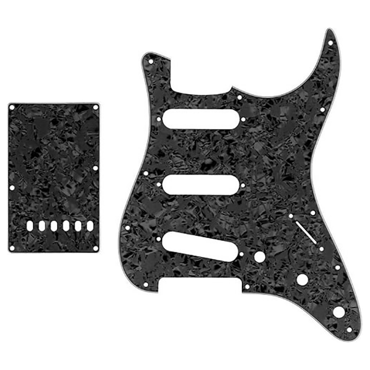 Proline US Strat Pick Guard SSS w/Back Plate (Black Pearloid) - PFS5903USB