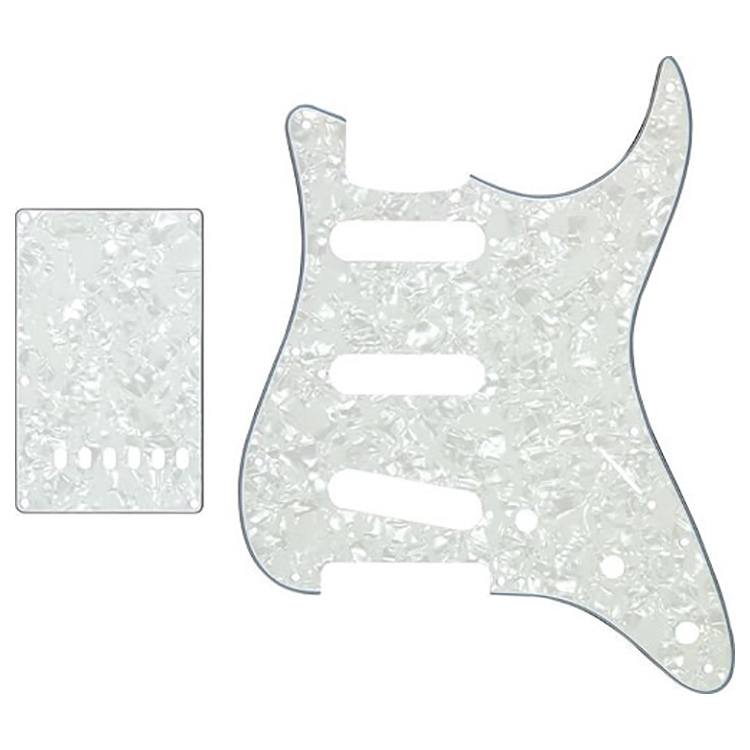 Proline US Strat Pick Guard SSS w/Back Plate (White Pearloid) - PL5903W